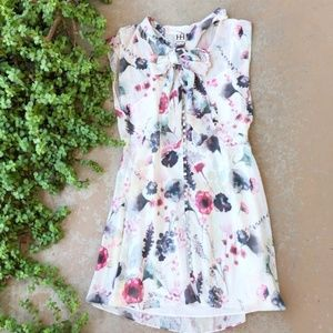 Haute Hippie White Floral Neck Tie Dress